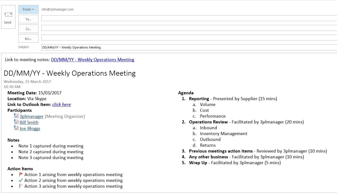 weekly meeting agenda